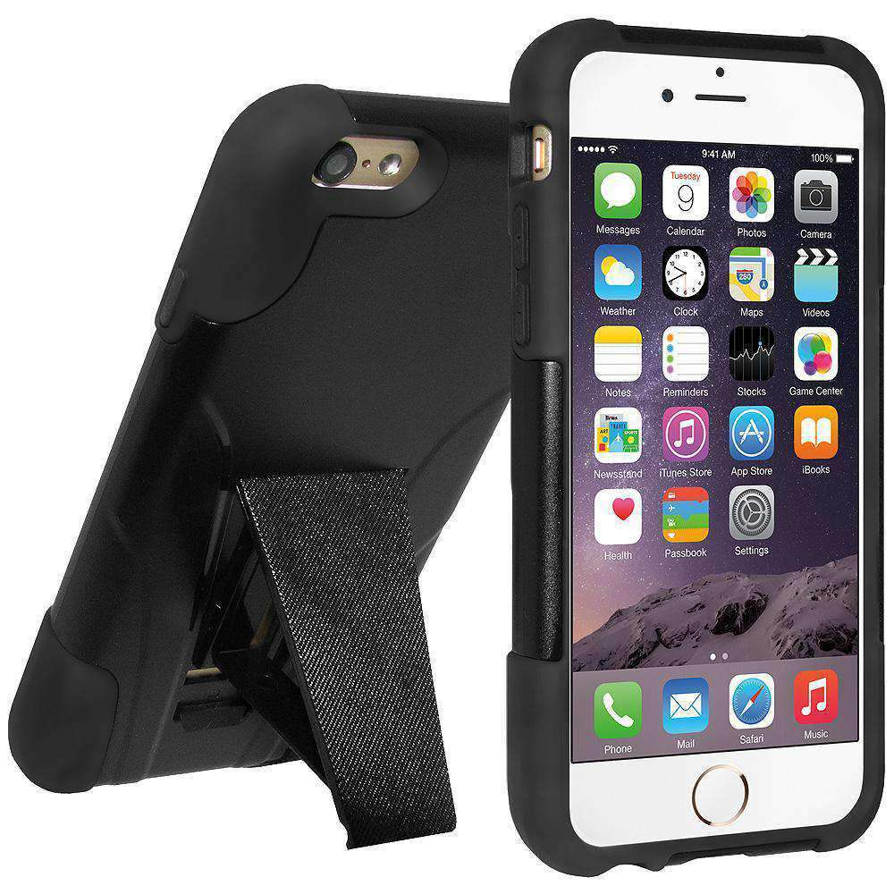 AMZER Double Layer Hybrid Kickstand Case for iPhone 6 - Black/ Black - amzer