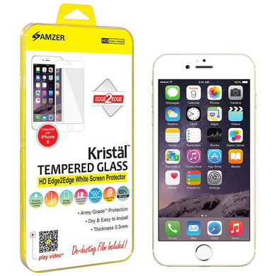 Amzer® Kristal™ Tempered Glass HD Edge2Edge Screen Protector - White for iPhone 6/ 6s, iPhone 7, iPhone SE 2020