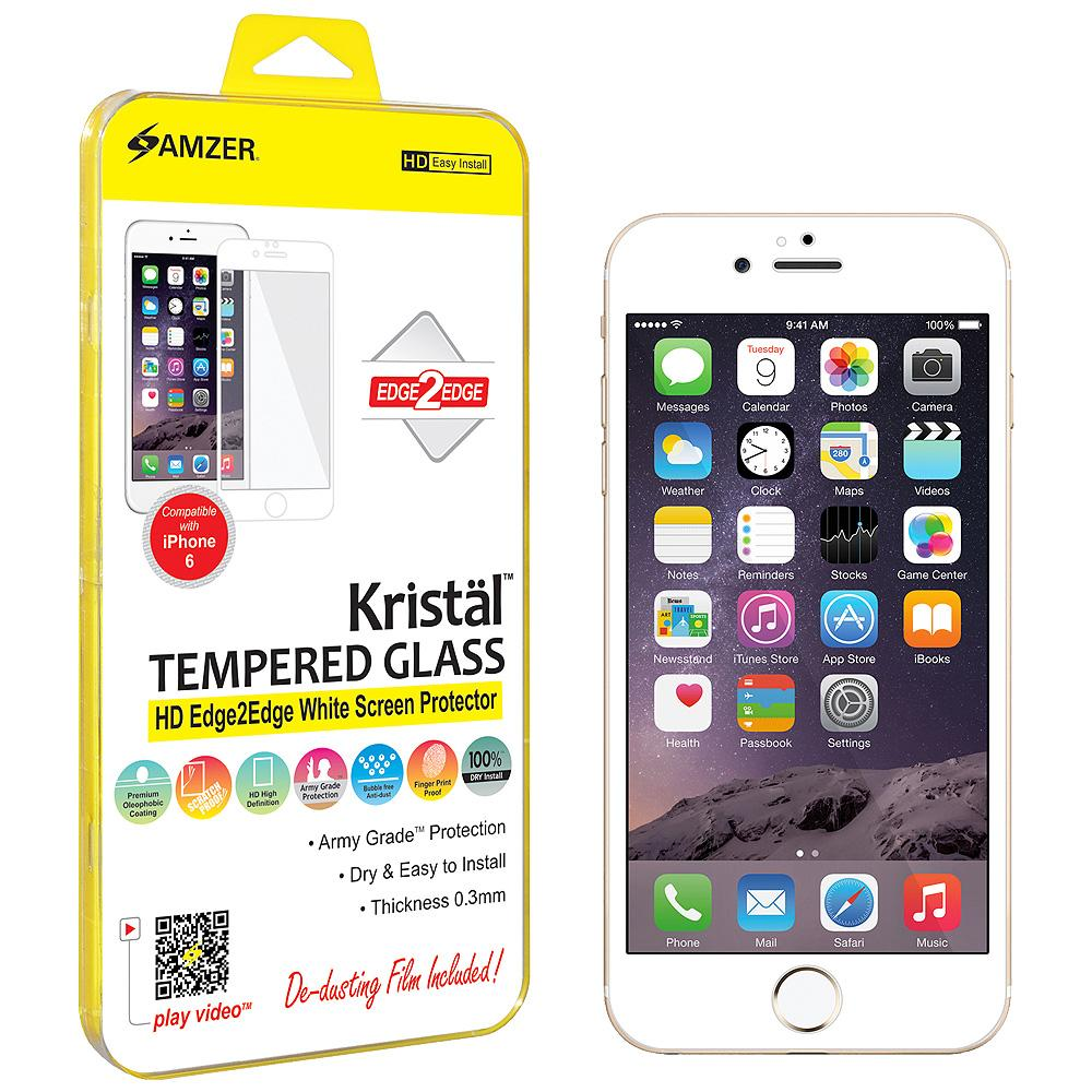 Amzer® Kristal™ Tempered Glass HD Edge2Edge Screen Protector - White for iPhone 6/ 6s/ iPhone 7
