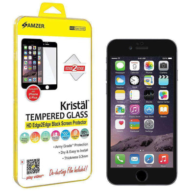 AMZER Kristal HD Edge2Edge Tempered Glass for iPhone 6 Plus - Black