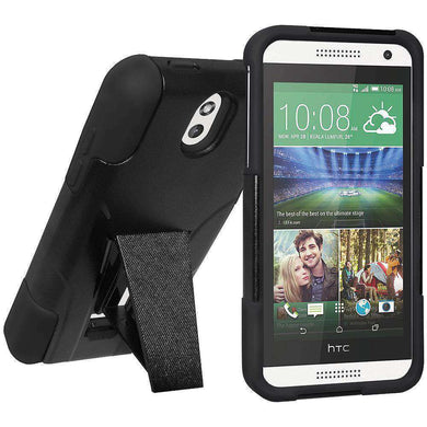AMZER Double Layer Hybrid Kickstand Case for HTC Desire 610 - Black/ Black