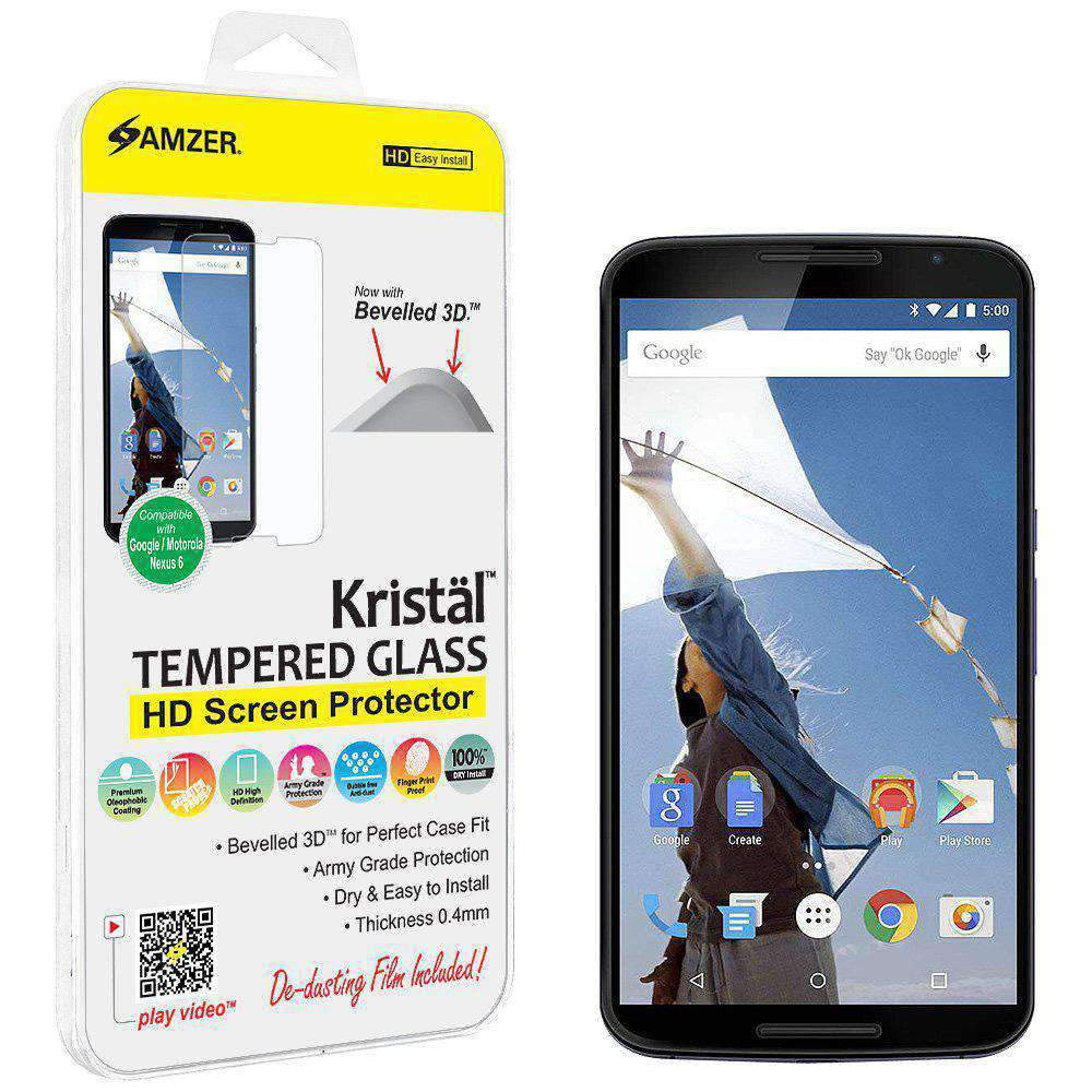 AMZER Kristal Tempered Glass HD Screen Protector for Google Nexus 6 - Clear