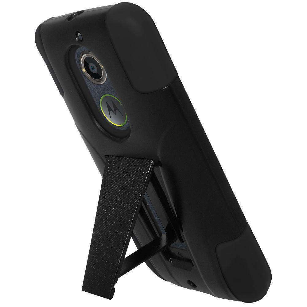 AMZER Double Layer Hybrid Kickstand Case for Motorola Moto X 2nd Gen - Black - amzer
