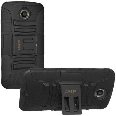AMZER® Hybrid Kickstand Case - Black/ Black for Motorola Moto X 2nd Gen