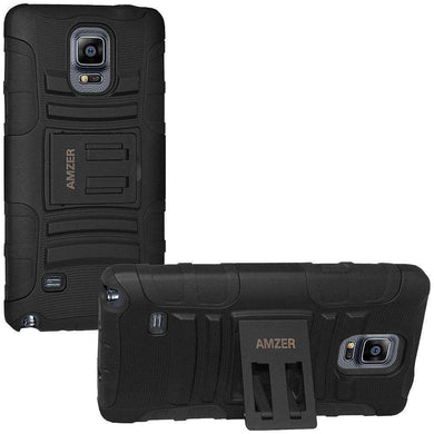 AMZER® Hybrid Kickstand Case - Black/ Black for Samsung GALAXY Note 4 SM-N910