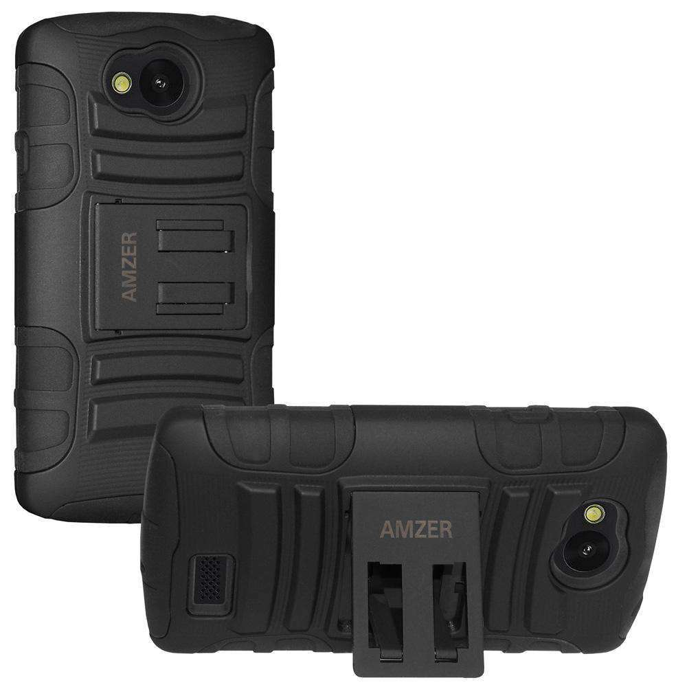 AMZER® Hybrid Kickstand Case - Black/ Black for LG Optimus F60 MS395
