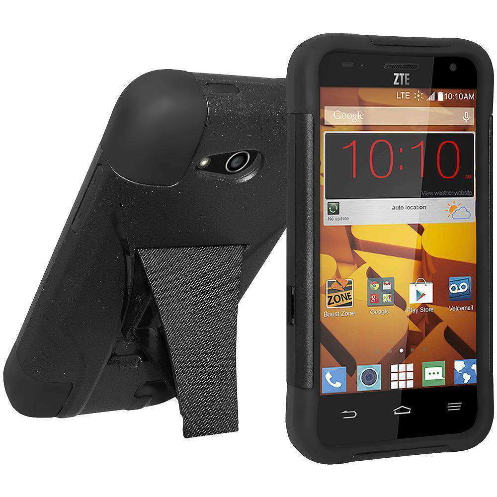 AMZER Double Layer Hybrid Kickstand Case for ZTE Overture 2 - Black/ Black