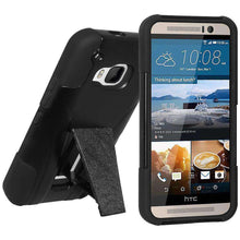 Load image into Gallery viewer, AMZER Double Layer Hybrid Kickstand Case for HTC One M9 - Black/ Black - amzer