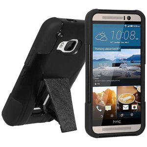 AMZER Double Layer Hybrid Kickstand Case for HTC One M9 - Black/ Black - amzer