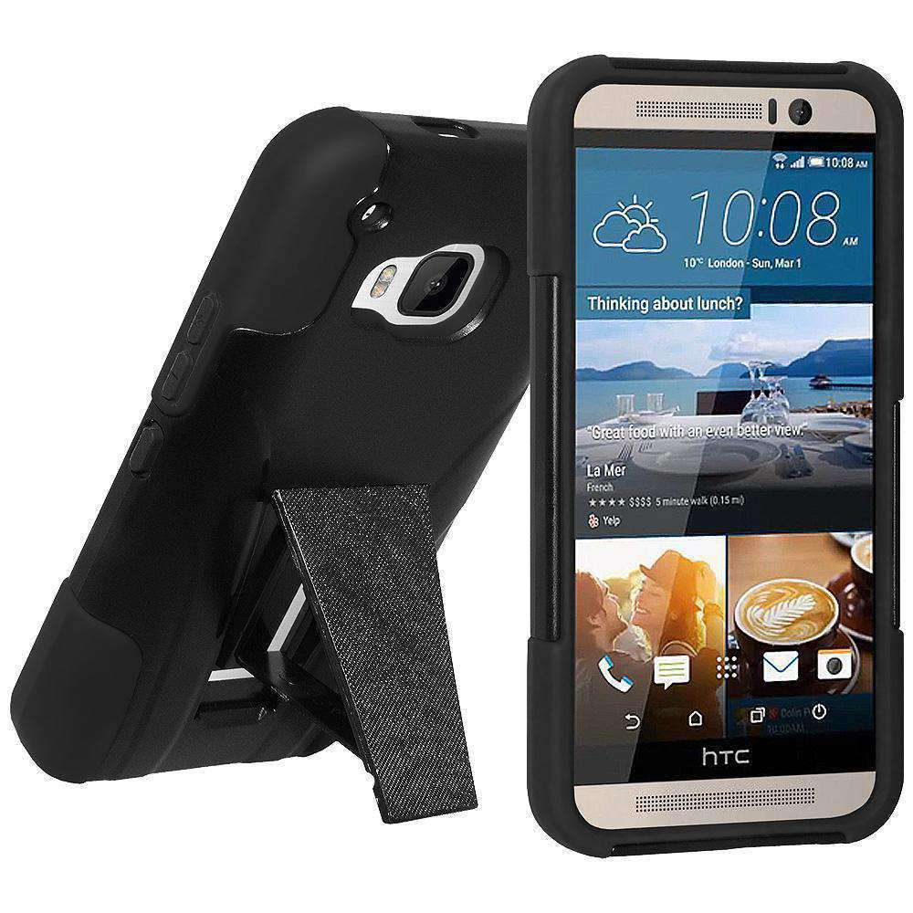 AMZER Double Layer Hybrid Kickstand Case for HTC One M9 - Black/ Black