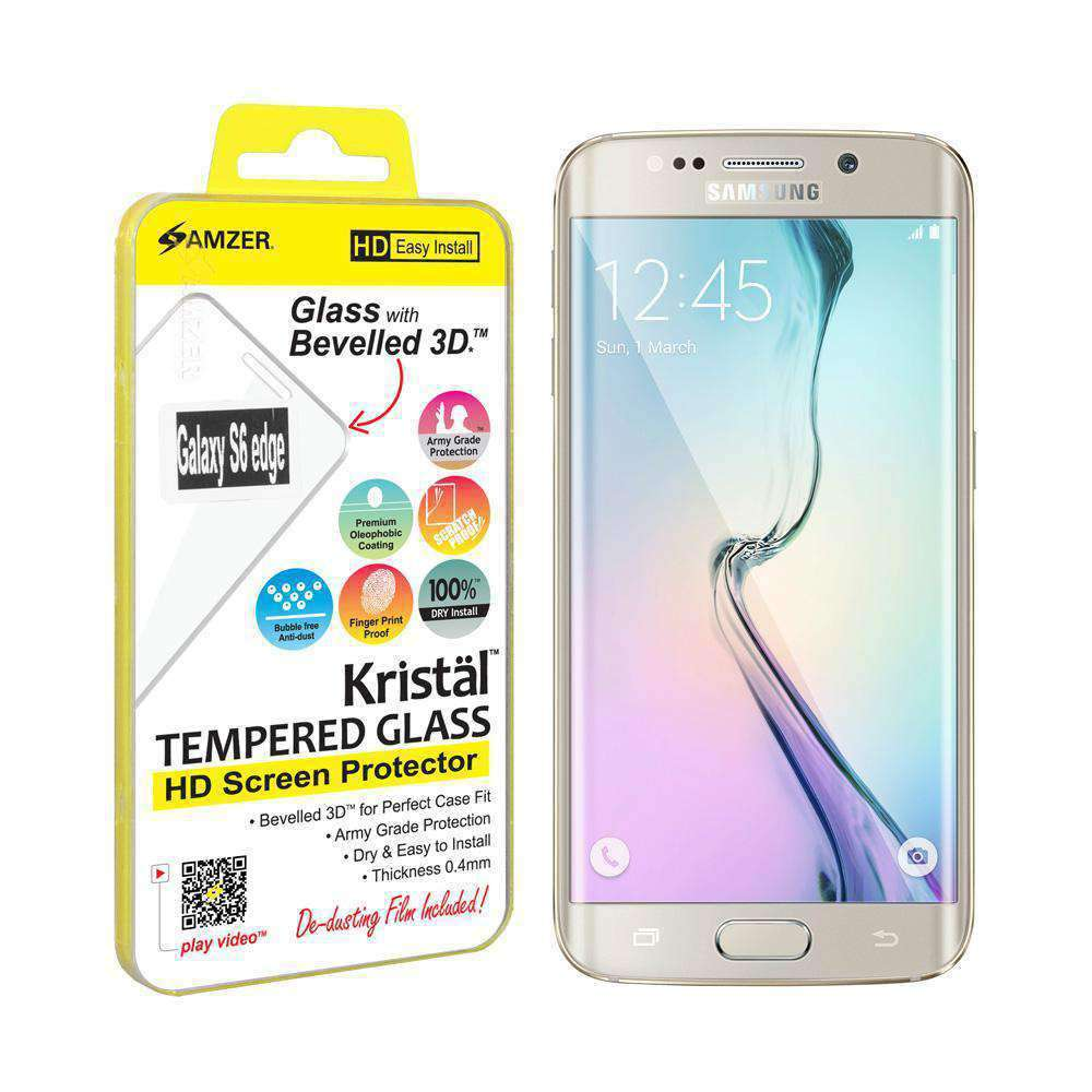 AMZER Kristal HD Edge2Edge Tempered Glass for Samsung Galaxy S6 edge - Clear