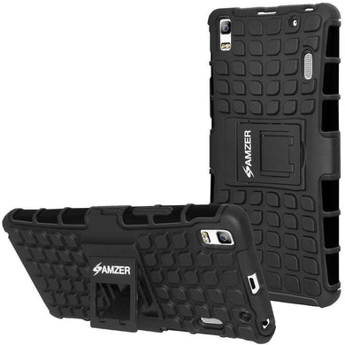 AMZER Shockproof Warrior Hybrid Case for Lenovo A7000 - Black/Black - amzer