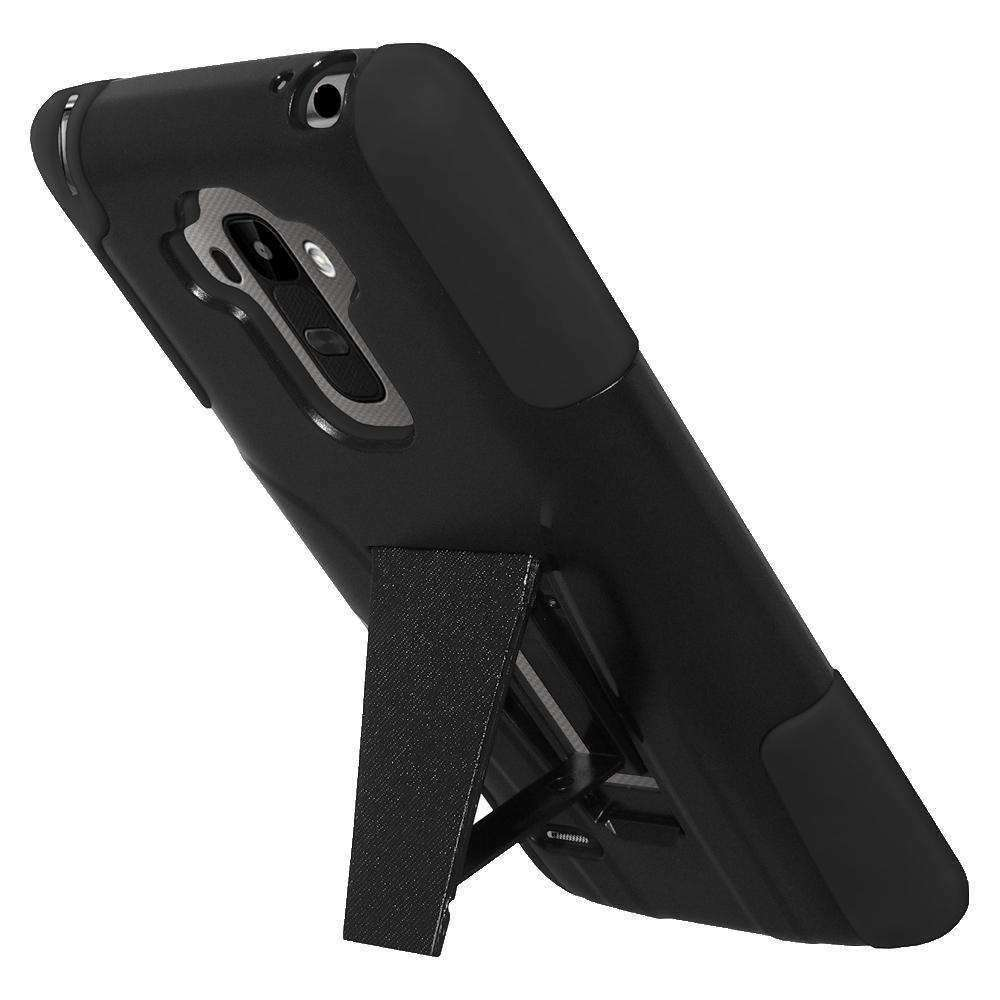 AMZER Double Layer Hybrid Kickstand Case for LG G Stylo LS770 - Black/ Black - amzer