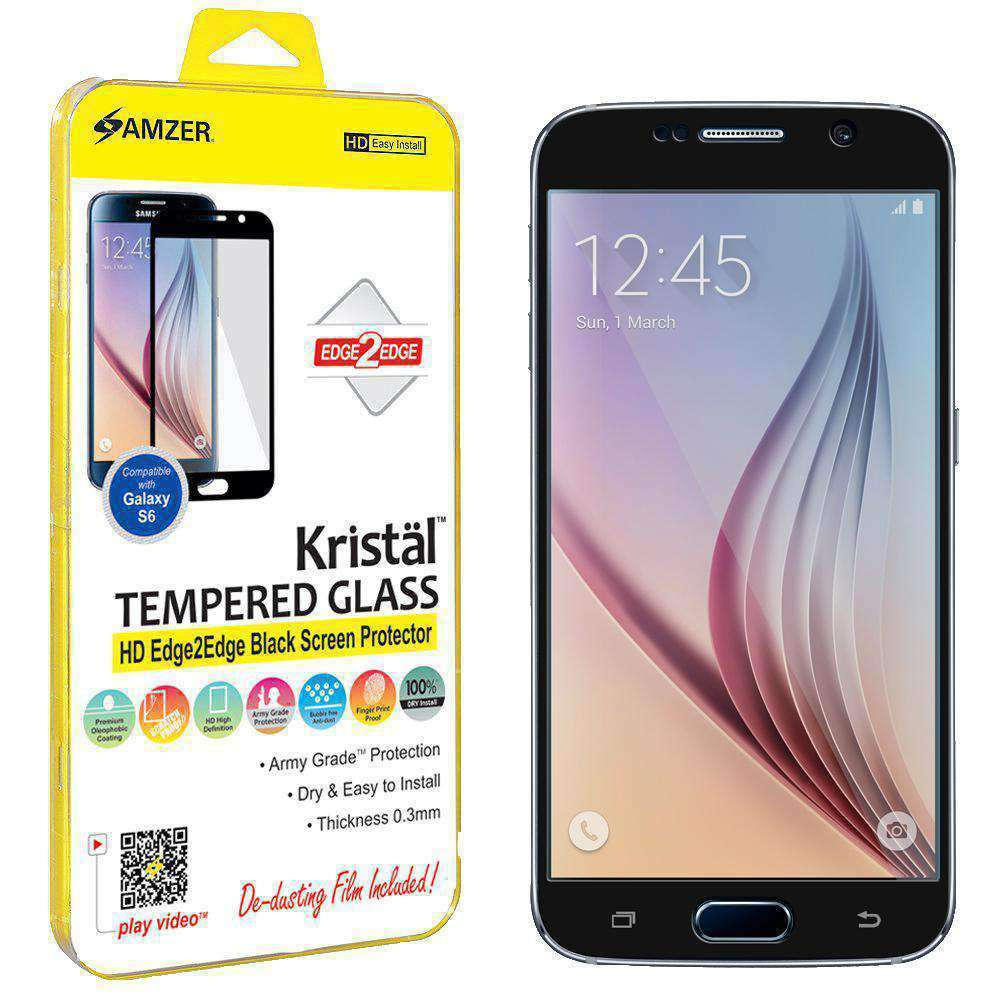 AMZER Kristal HD Edge2Edge Tempered Glass for Samsung Galaxy S6 - Black