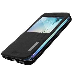 AMZER Flip Case With Swipe Window for Samsung Galaxy S6 edge SM-G925F - Black - amzer