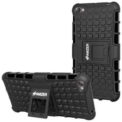 AMZER Shockproof Warrior Hybrid Case for Lenovo S60 - Black/Black - amzer