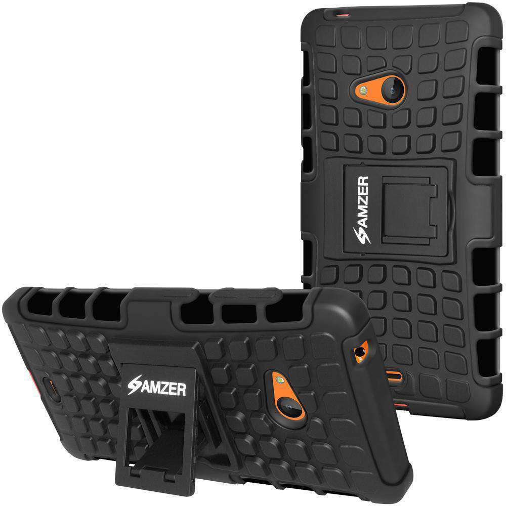 AMZER Shockproof Warrior Hybrid Case for Microsoft Lumia 540 - Black/Black - amzer