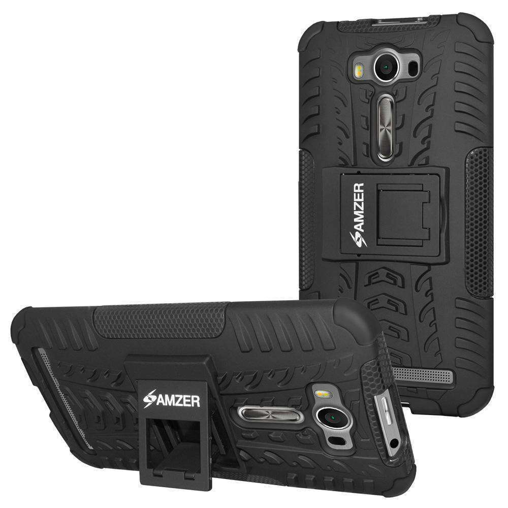 AMZER  Warrior Hybrid Case for Asus Zenfone 2 Laser ZE500KL - Black/Black - amzer