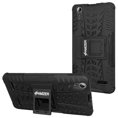 AMZER Shockproof Warrior Hybrid Case for Lenovo A6000 - Black/Black - amzer