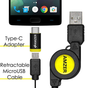 Amzer® Micro USB Retractable Data Cable With Type-C Adapter