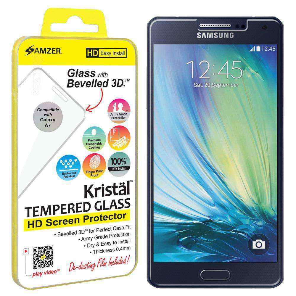 AMZER Kristal Tempered Glass HD Screen Protector for Samsung GALAXY A7 Duos