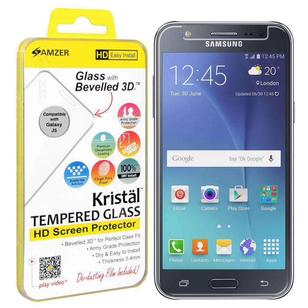 AMZER Kristal Tempered Glass HD Screen Protector for Samsung Galaxy J5