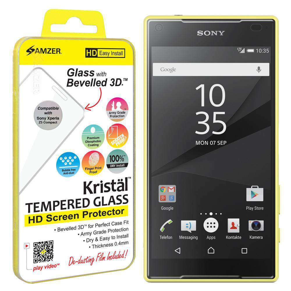AMZER Kristal Tempered Glass HD Screen Protector for Sony Xperia Z5 Compact - amzer