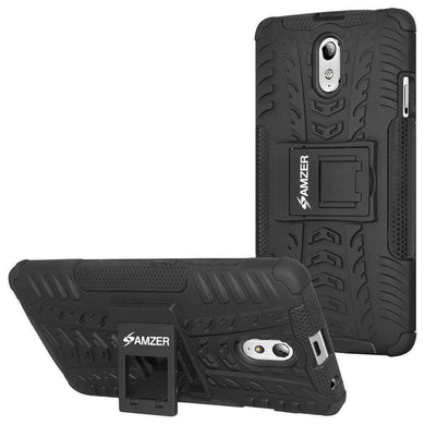 AMZER Shockproof Warrior Hybrid Case for Lenovo VIBE P1m - Black/Black - amzer