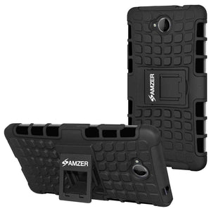 AMZER Shockproof Warrior Hybrid Case for Microsoft Lumia 650 - Black/Black - amzer