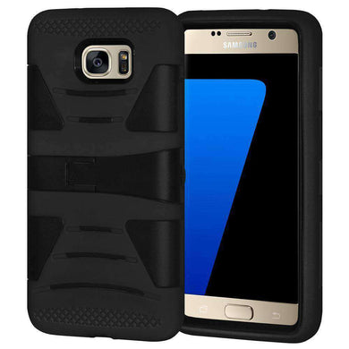 AMZER Dual Layer Hybrid KickStand Case for Samsung GALAXY S7 - Black/ Black - amzer