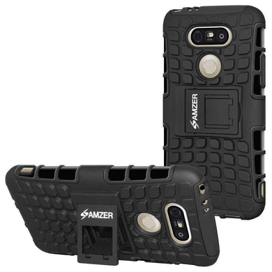 AMZER Hybrid Warrior Kickstand Case for LG G5 - Black/Black