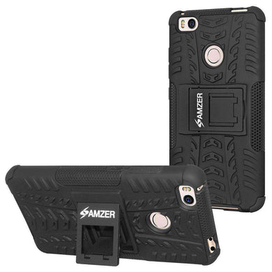 AMZER Shockproof Warrior Hybrid Case for Xiaomi Mi 4s - Black/Black - amzer