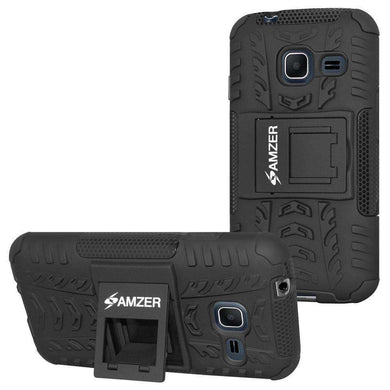 AMZER Hybrid Warrior Case for Samsung GALAXY J1 Mini- Black/ Black - amzer