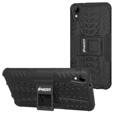 AMZER Shockproof Warrior Hybrid Case for HTC Desire 10 Lifestyle - Black/Black