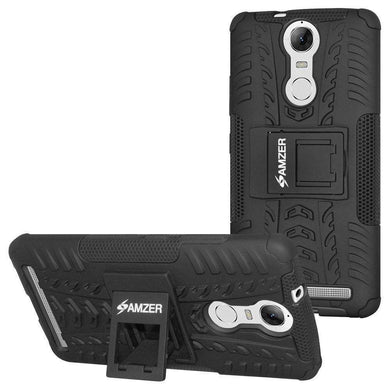 AMZER Shockproof Warrior Hybrid Case for Lenovo K5 Note- Black/Black - amzer