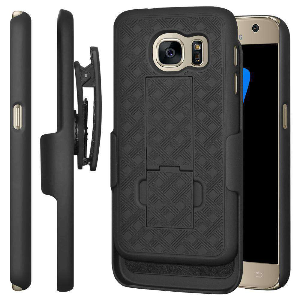AMZER Shellster Hard Case with Belt Clip Holster for Samsung GALAXY S7 - Black