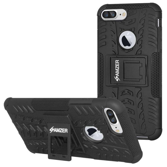 AMZER Shockproof Warrior Hybrid Case for iPhone 7 Plus - Black/Black - amzer