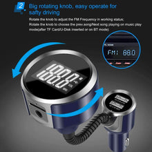 Load image into Gallery viewer, Wireless Bluetooth FM Transmitter Radio Adapter Car Charger, with Hand-Free Calling and 1.4 inch LCD Display, Music Player Support TF Card USB Flash Drive AUX Output - amzer