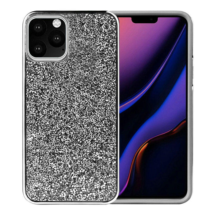 AMZER Rhinestone Diamond Platinum Collection Hybrid Bumper Case for iPhone 11 Pro - Black