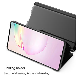 AMZER Mirror Horizontal Flip PU Leather Case With Holder for Samsung Galaxy Note20 Ultra - Black
