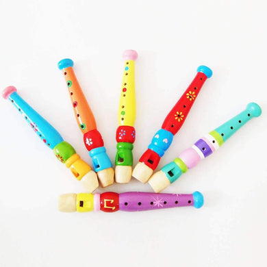 Kindergarten Children Early Education Teaching Aids Wooden Colorful Flute Musical Play Toys, Size: 20*2.5cm - amzer
