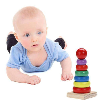 Colorful Small Rainbow Tower Column Early Education Intellectual Wood Toys - amzer