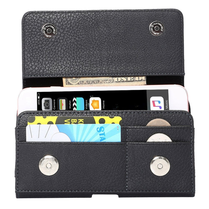 Premium Texture Vertical Flip Thwartwise PU Leather Case / Waist Bag with Back Splint & Card Slots, Size: 16 x 8.3 x 1.5