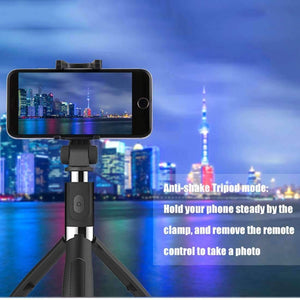 2 in 1 Foldable Bluetooth Shutter Remote Selfie Stick Tripod for iPhone and Android Phones(Black) - amzer