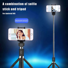 Load image into Gallery viewer, 2 in 1 Foldable Bluetooth Shutter Remote Selfie Stick Tripod for iPhone and Android Phones(Blue) - amzer