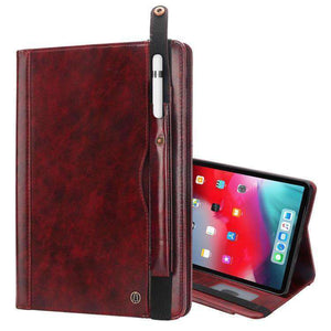 Flip Leather Smart Case With Card/Pen Slot & Strap for iPad Pro 12.9 inch 2018