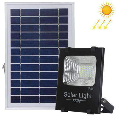 AMZER 50W Ultra-thin IP66 Waterproof Solar Powered Timing LED Flood Light, 42 LEDs SMD 2835 LED Lamp with 6V / 0.83A Solar Panel & Remote Control - White Light - amzer