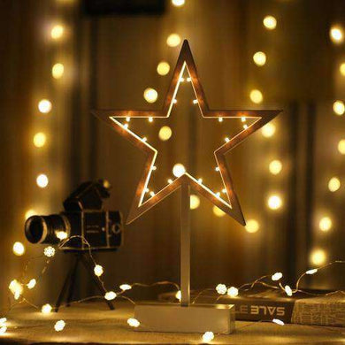 AMZER Star Shape Romantic LED String Holiday Light with Holder, Warm Fairy Decorative Lamp Night Light for Christmas, Wedding, Bedroom - amzer