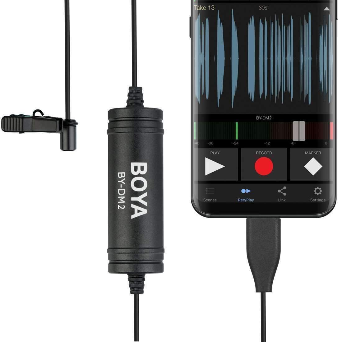 USB-C / Type-C Broadcast Lavalier Condenser Microphone with Windscreen for  Android Phones / Tablets (Black)