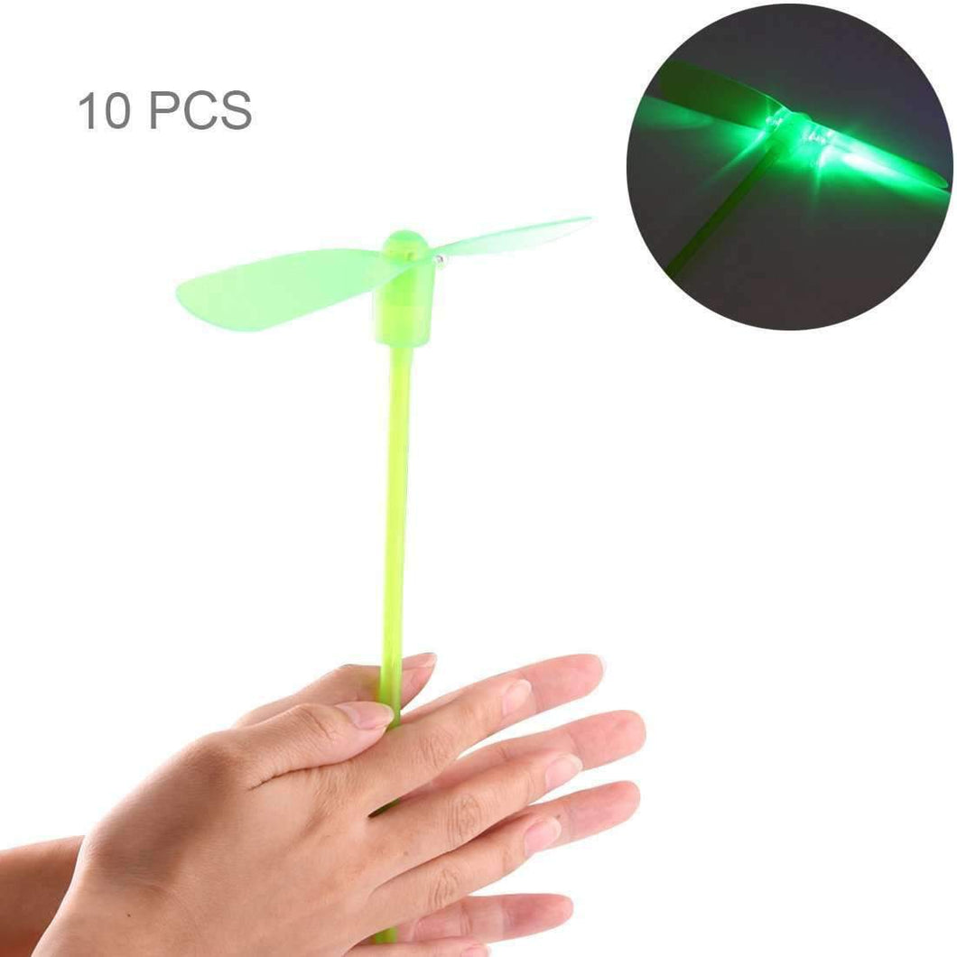 10 PCS Amazing LED Light Flying Bamboo Dragonfly Toy, Random Color Delivery - amzer